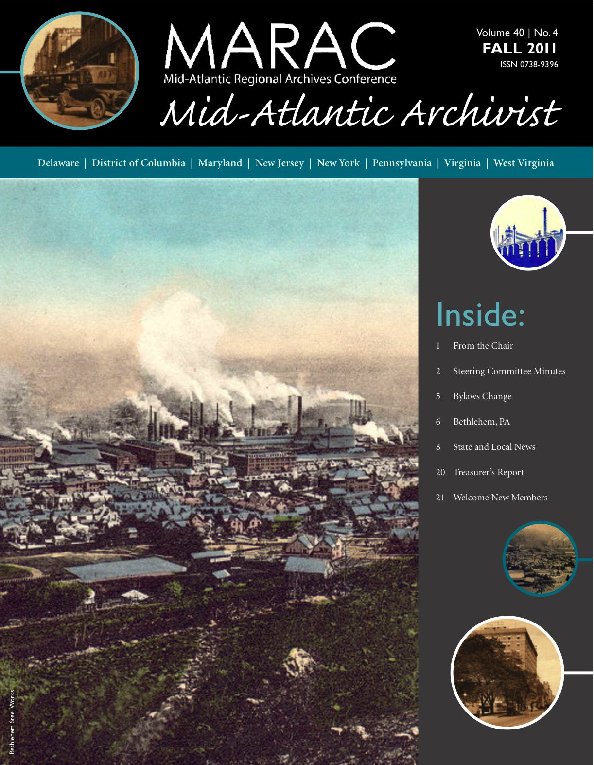 Cover of an issue of the Mid-Atlantic Archivist